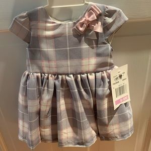 Plaid gray and pink formal dress